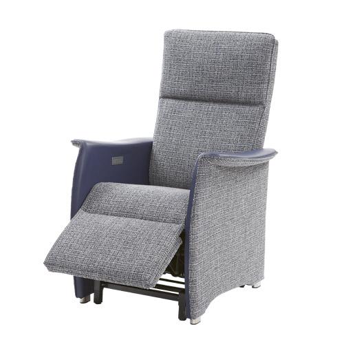 Sta op stoel Vigo L blauw stof leer 2