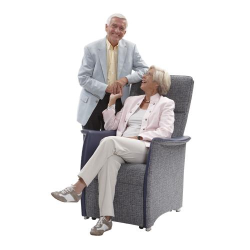 Sta op stoel Vigo L blauw stof leer  man vrouw 2