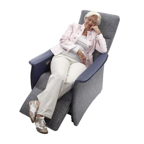 Sta op stoel Vigo L blauw stof leer  relax 6