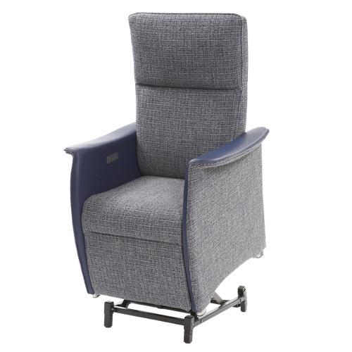Sta op stoel Vigo L blauw stof leer sta op