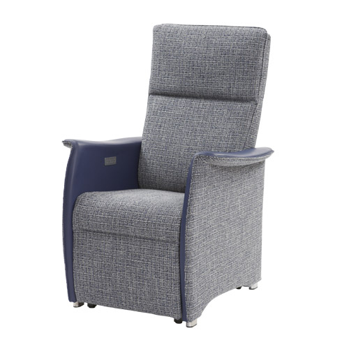 Sta op stoel Vigo L blauw stof leer
